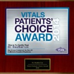 Vitals Patients' Choice Award 2014 Wall